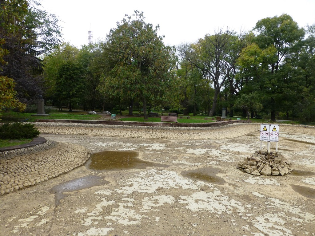 Sofia in one image. Borisova Gradina, a wonderful park, but empty. A drained pond, no people, and busts of various communists and heroes from Bulgarian history.