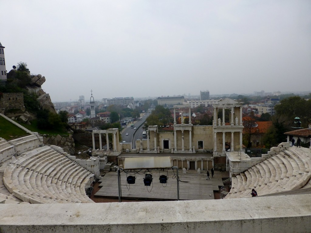 Overlooking the ancient theatre of Philippopolis.